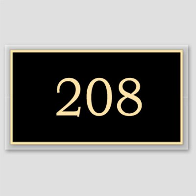 Black and beige door number