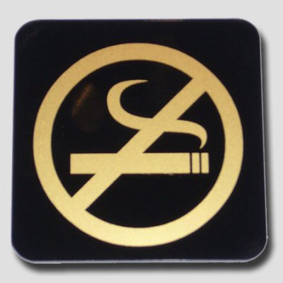 Black and gold non-smoking plate
