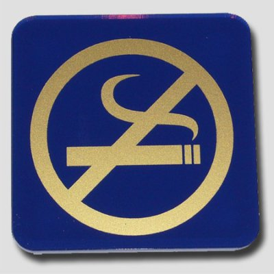 Blue and gold non smoking plate