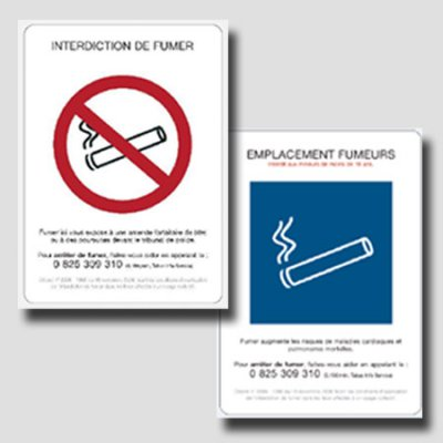 Pack of 5 non smoking decrees PVC 1mm