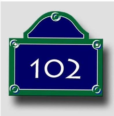 Signage plate of Paris - Plate number door